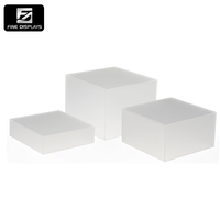 Hot sale desktop customized acrylic cube risers with hollow bottoms display with metal stand frosted set of 3