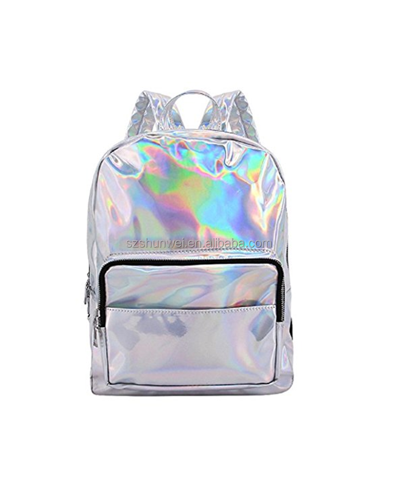 Top Selling Fashion Bag Laser PU Holographic Backpack for Travel Casual
