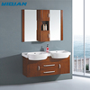 Factory direct custom hotel solid oak wood cheap double bathroom sink countertop cabinet