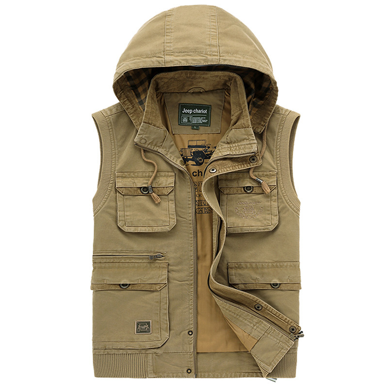 Hooded jacket vest Multi-Pocket Outdoor Waistcoat Jungle Men vest Jacket 2015 Chaleco pluma hombre Brand High quality Army vest