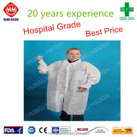 White medical traditional collar knitted cuff lab coat