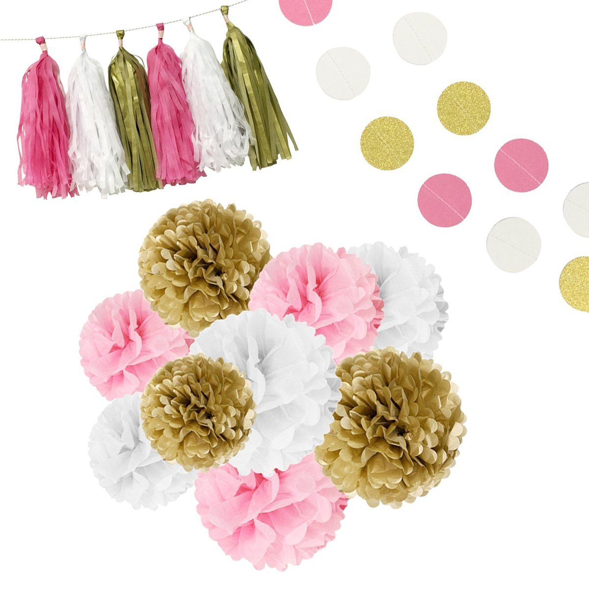 ALLYDREW 35pcs Pink, Gold & White Tissue Paper Pom Poms, Garlands & Tassels Party Pack for Baby Showers Birthdays Party Decorations