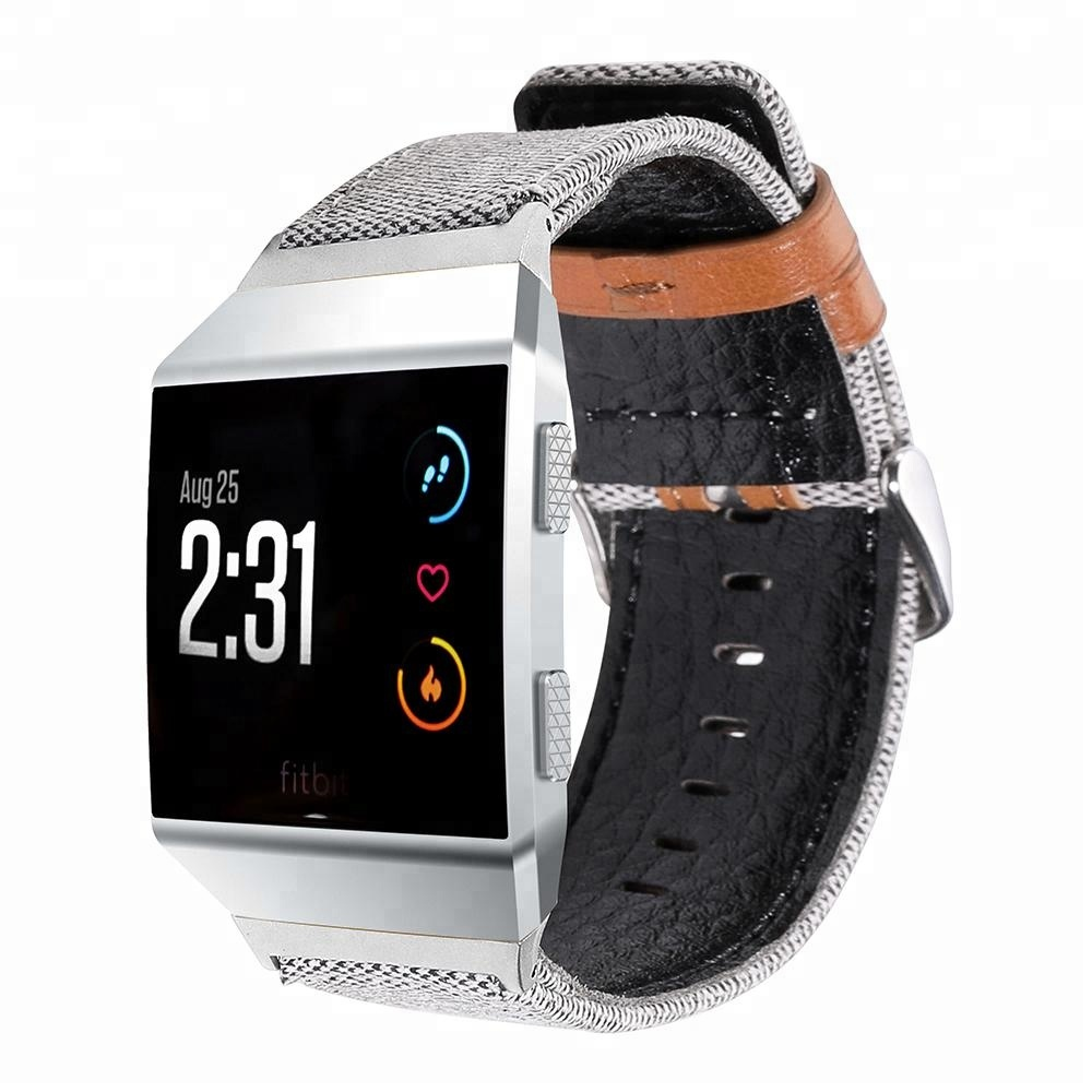 Smart Watch Bands For Fitbit Ionic Fabric + Leather Band Replacement Sport Smartwatch Super Soft Strap for Men Women фото