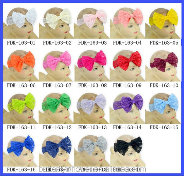 hot sale cheap newborn candy color wide lace bow headband