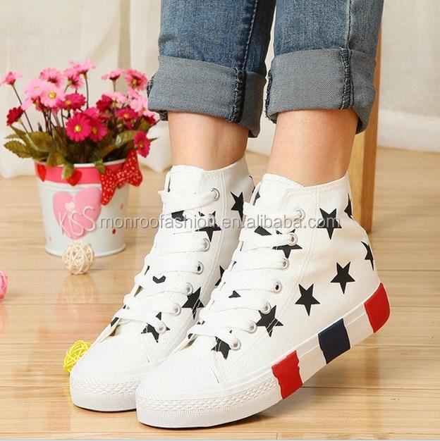Monroo ladies fashion shoes all star lace-up canvas shoe design wholesale