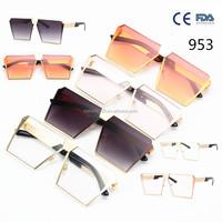 2017 Fashion Brand Designer Square Flat Top Sun Glasses Mirror Women Sunglasses Men Eyeglasses Hip Hop rose gold Frame Lady Male
