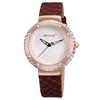 skone brand ladies luxury flower decorated face genuine leather watch