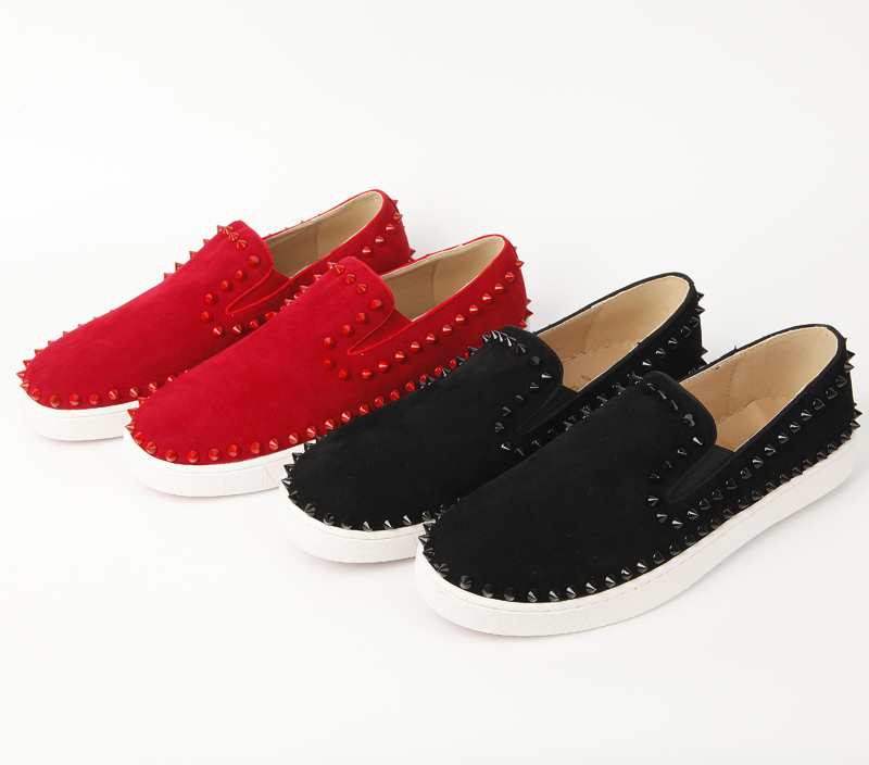 d91b3c90c54bd Get Quotations · suede designer Spikes Roller boat shoes Flat low top Red  Bottom pik boat Men Women Silver