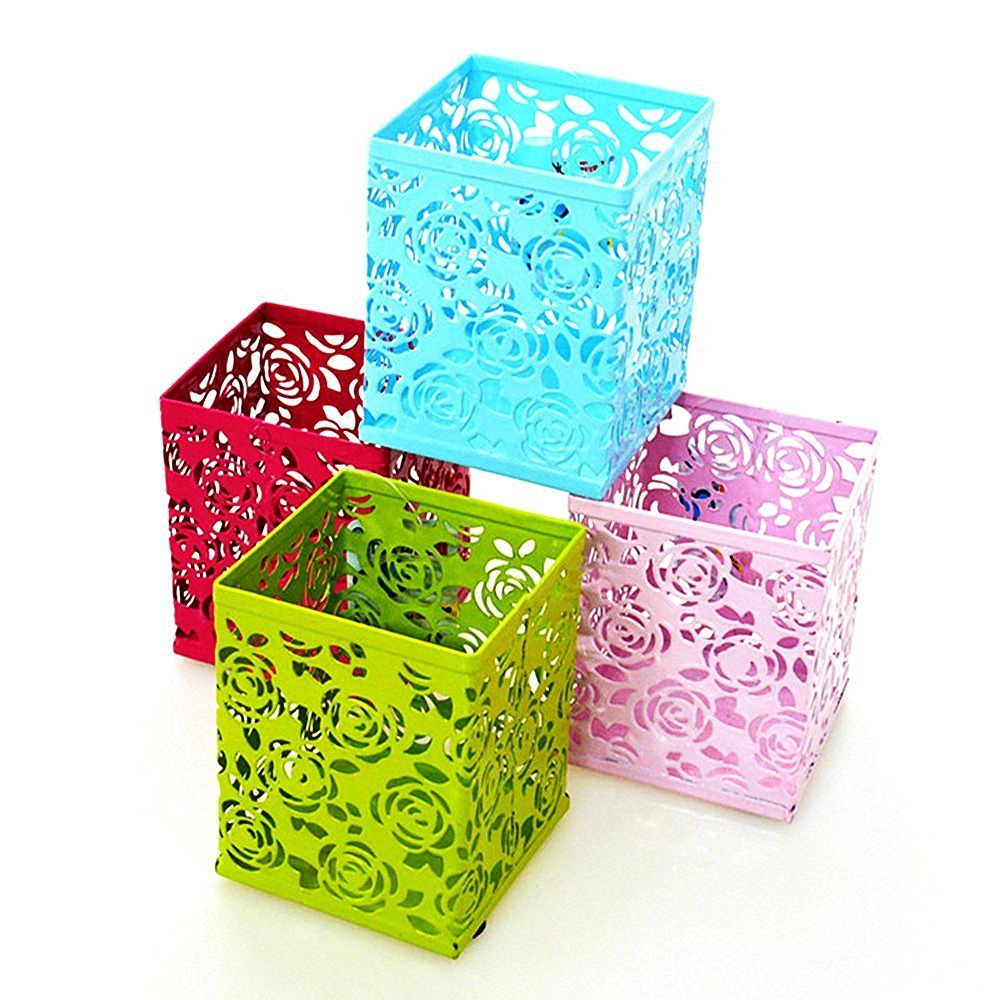 Kubert® 4Pcs Mixed color Square Hollow Rose Flower Pattern Metal Pen Pencil Pot Holder Organizer Pen & Pencil Cup,Desktop Stationery Storage Box Collection, Business Card/Pen/Pencil/Mobile Phone /Remote Control Holder Desk Supplies Organizer(red /blue /green / pink)