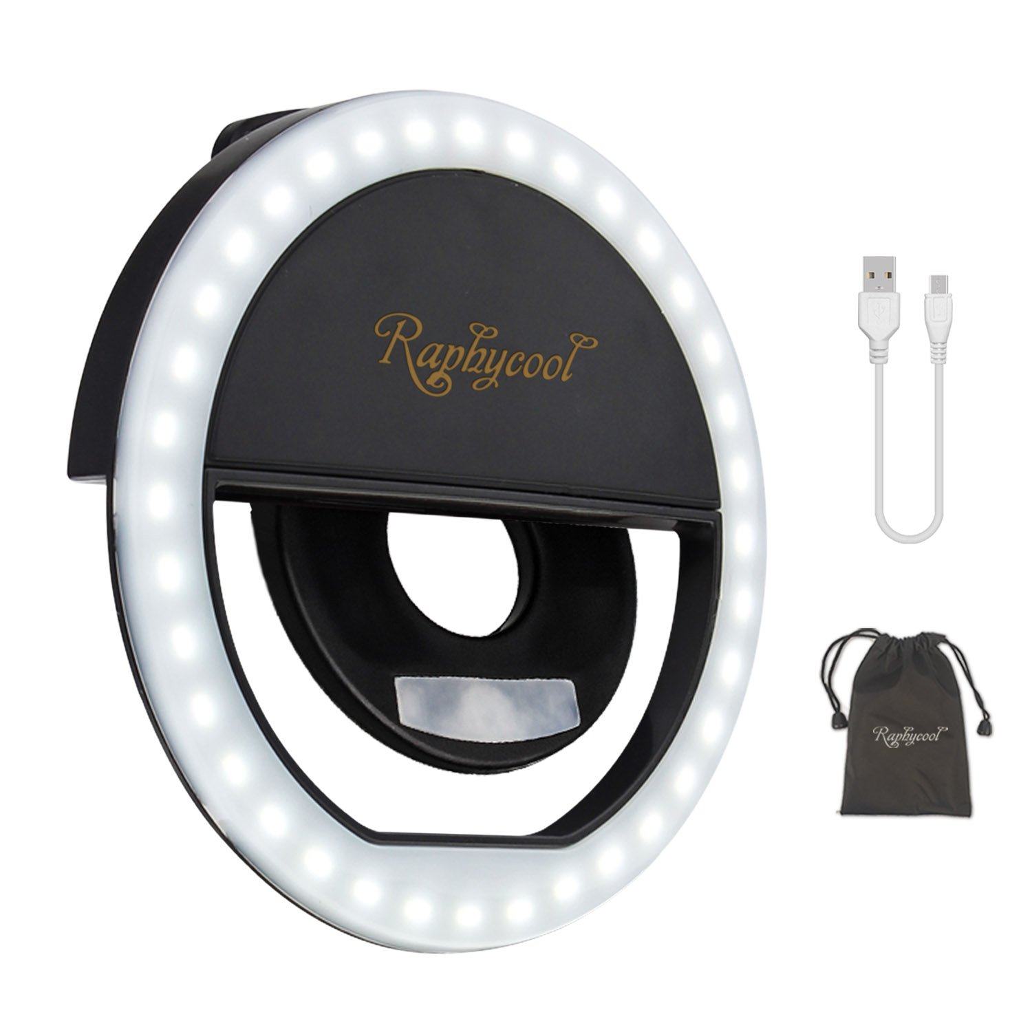 Selfie Light, RC Selfie Ring Light for iPhone, Rechargeable Ring Light for Phone, Circle Light Clip on iPhone Sansung Galaxy HuaWei iPad Photography Camera Video, Black