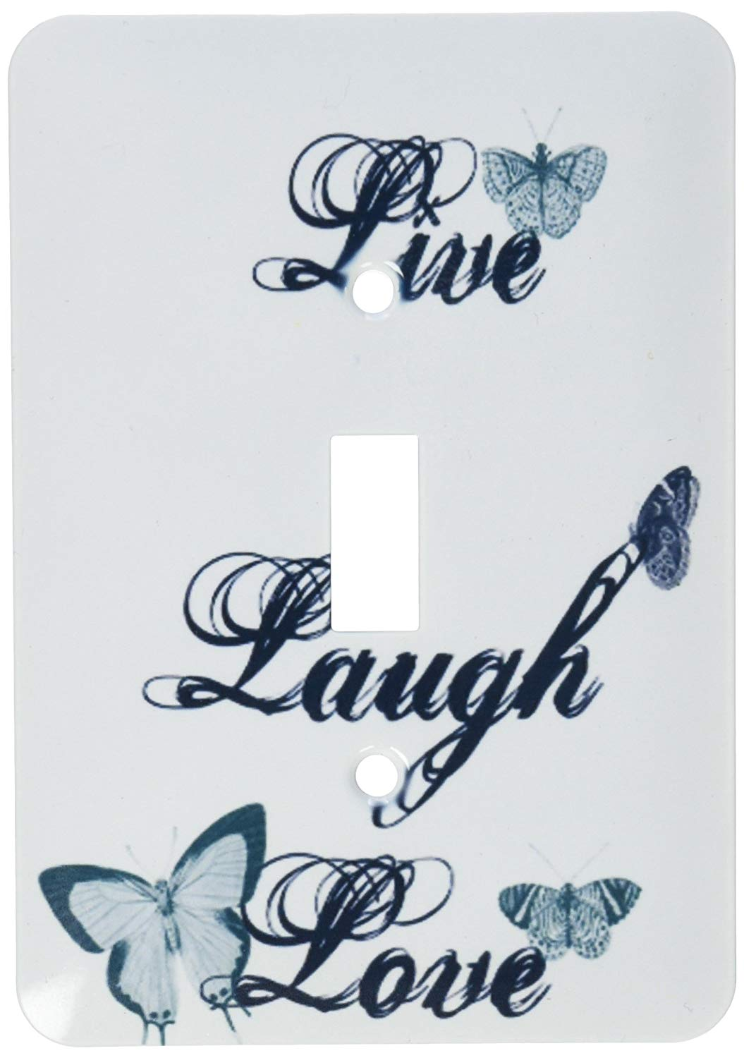 3dRose lsp_130535_1 Live, Laugh, Love Teal Butterflies Inspirational Arat Light Switch Cover