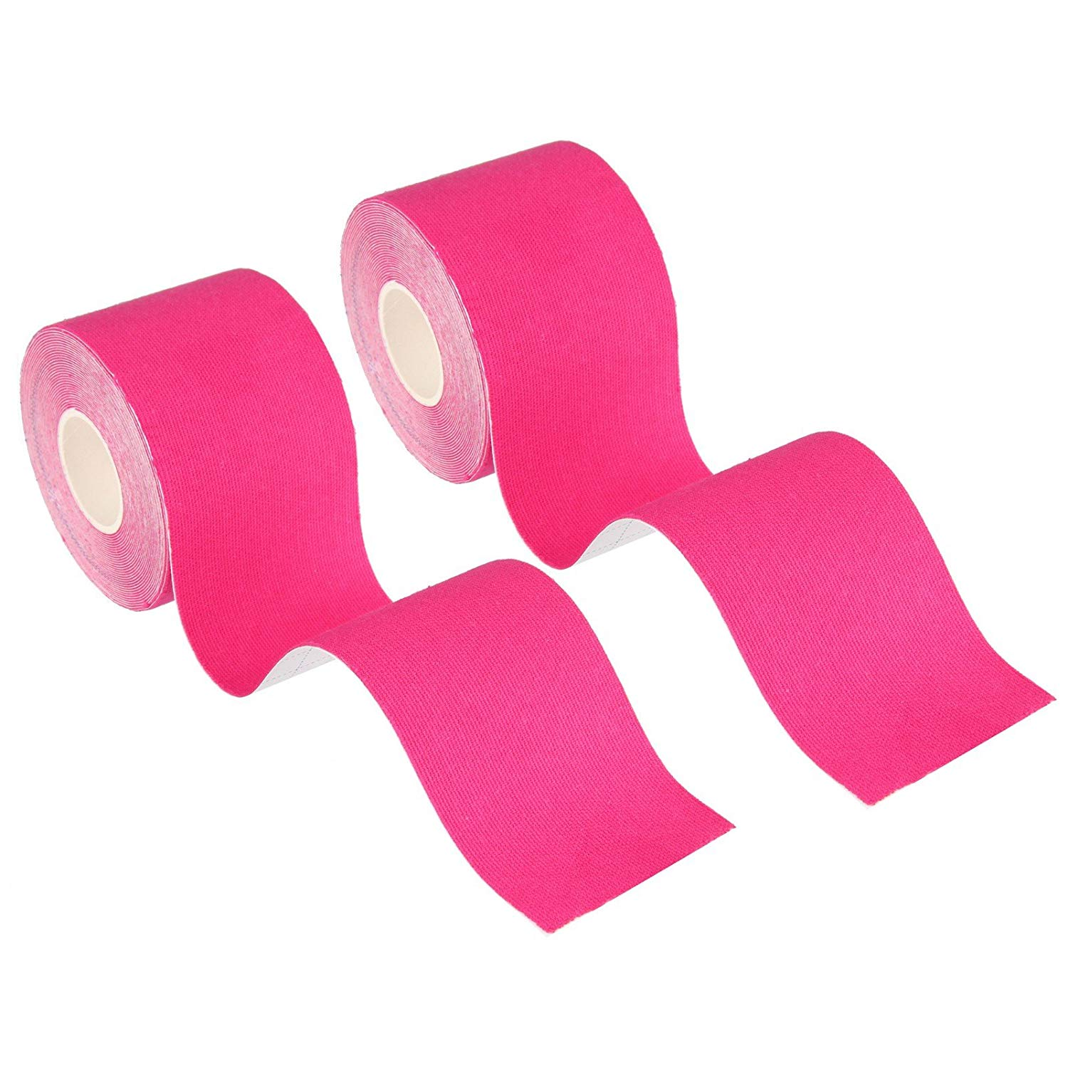 """Beauty7 Kinesiology Adhesive Tape 2 Rolls Uncut Cotton Elastic Breathable Waterproof Muscle Support for Athletic Sports Aid Recovery and Physio Therapy Knee Shoulder Elbow (Rose Red, 1""""W x 16.4'L)"""