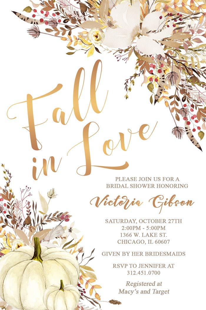 get quotations fall in love bridal shower invitations fall autumn bridal shower invites white pumpkins