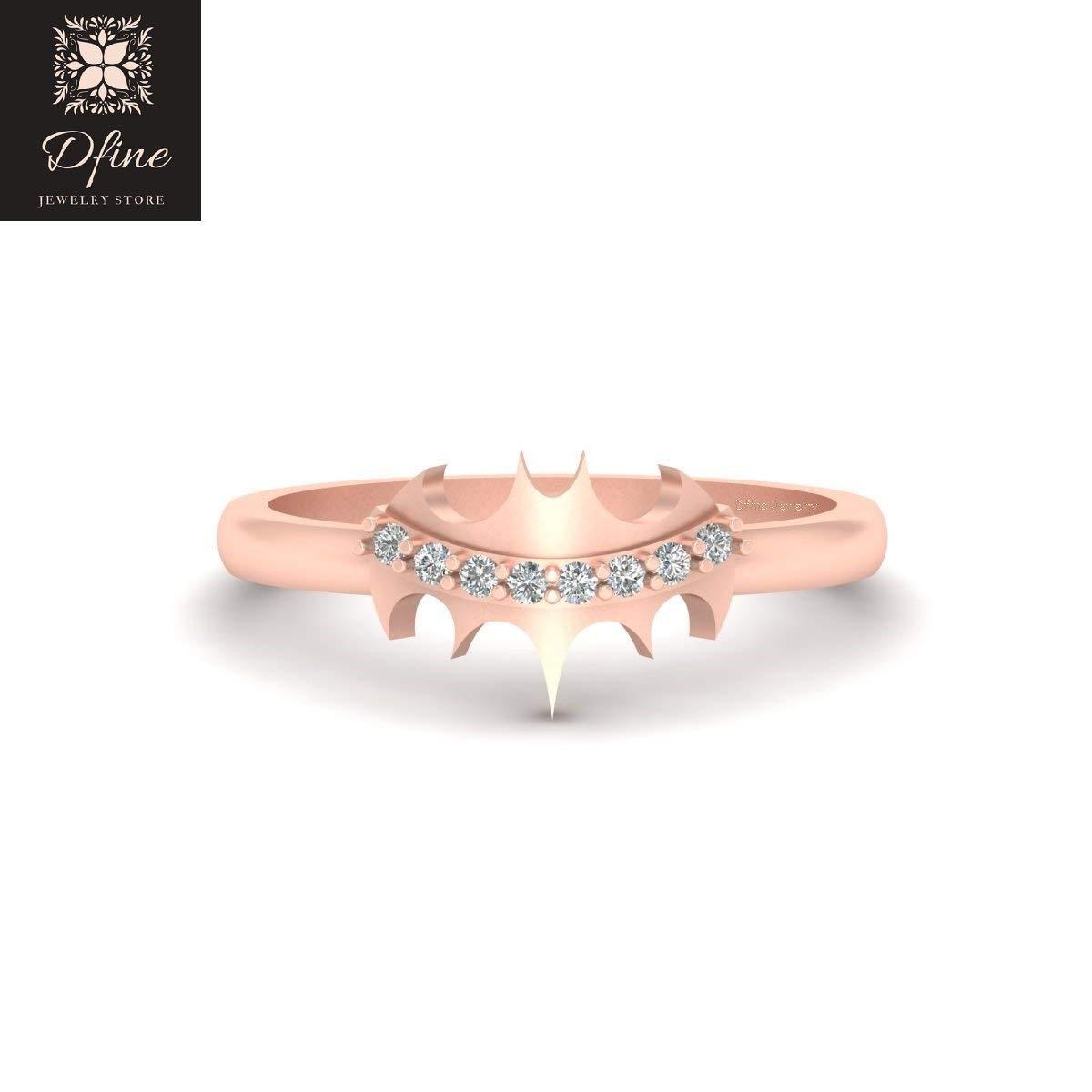 Superhero Fantasy Batman Inspired Wedding Ring Solid 14k Rose Gold Batgirl Ring Jewelry