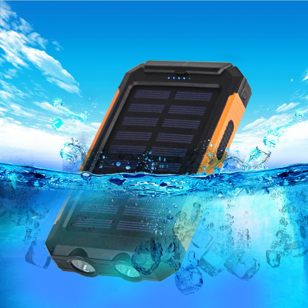 dual usb 8000mah led light portable solar charger external battery power bank