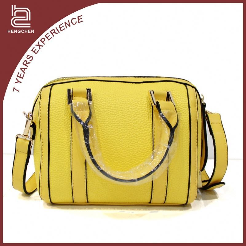 Yellow tote and shoulder pu leather brand name handbags for women