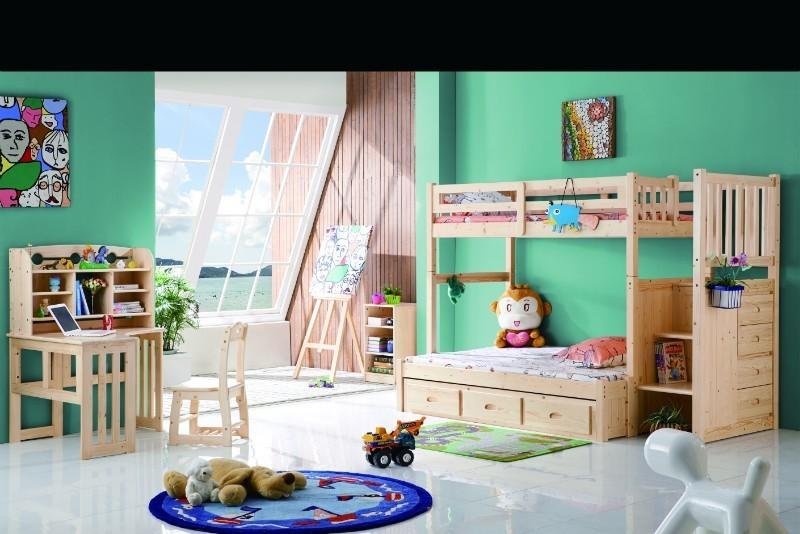 뜨거운 판매 어린이 이층 침대 서랍 계단 침실 가구 나무 침대 ...