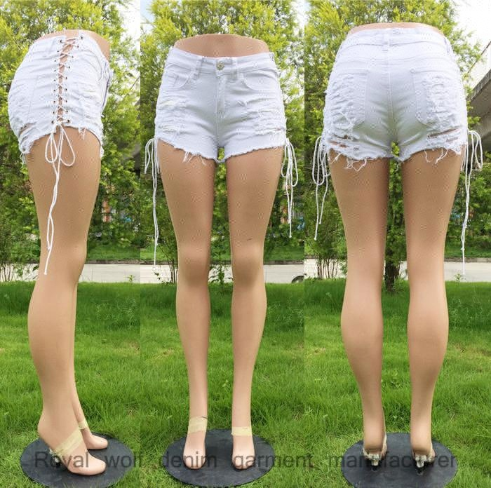 D&S factory dropshipping bulk wholesale cotton shorts dropshipping white ripped lace up sexy women's denim shorts