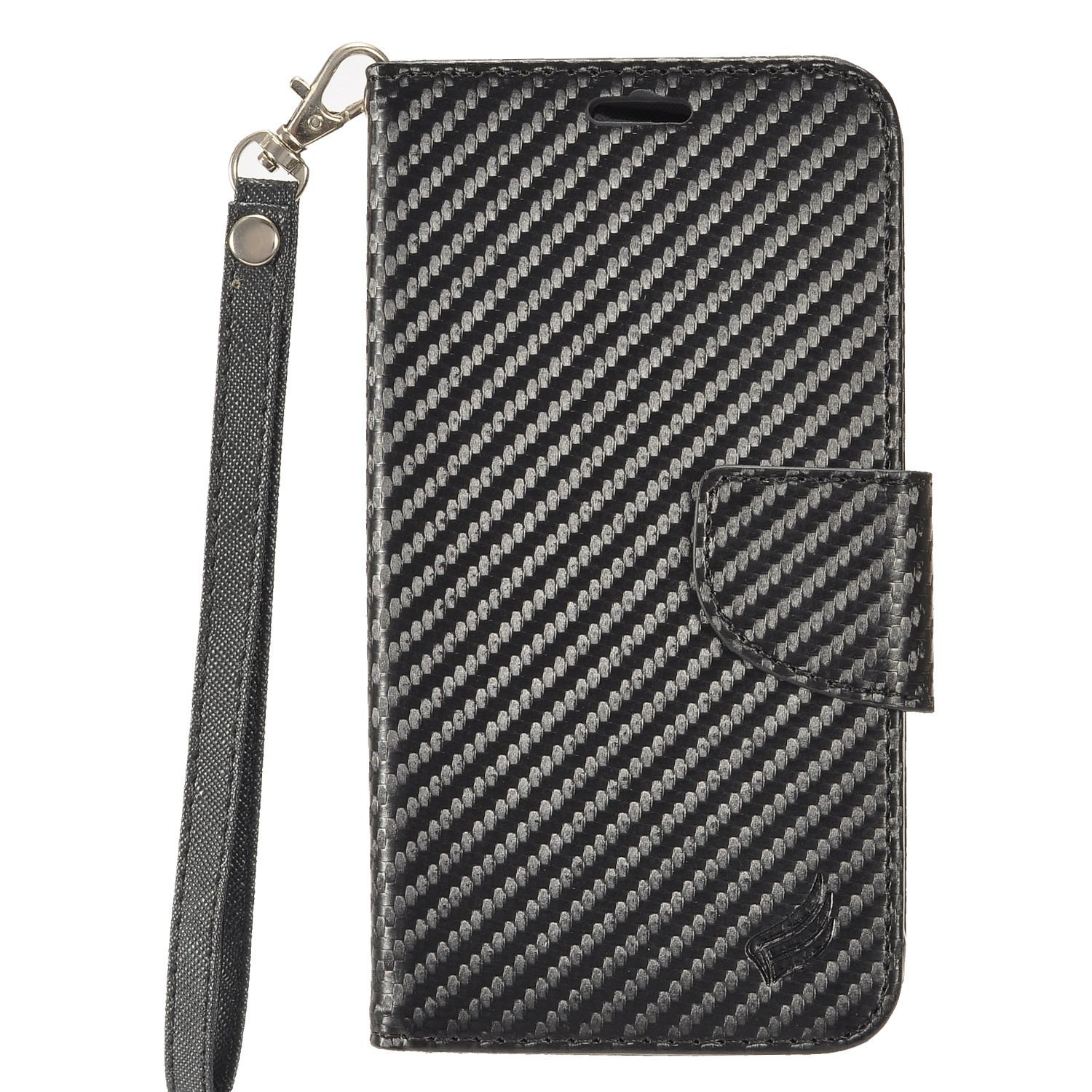 For HTC Bolt - PU Leather Flip Wallet Case + Z-GEN [TM] Stylus Pen - Carbon Fiber/Black