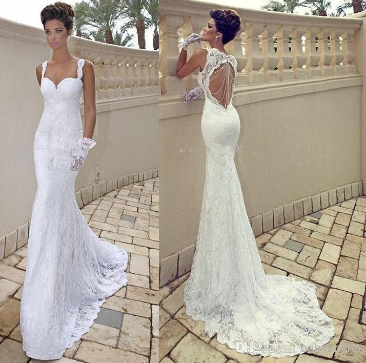 Beach Spaghetti Strap Wedding Gown: Vestido De Noiva 2014 Sexy Spaghetti Strap Sweetheart