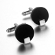 Black Classic Simple Smooth Blank Rounded French Cufflinks in Zinc Alloy for Men