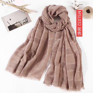 Wholesale new solid color crease cotton and linen scarf muslim hijab