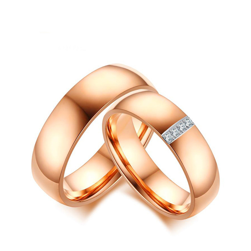 Rose gold plated stainless steel zircon pave diamond ring for mens and women