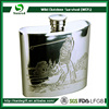 High Quality Cheap Custom embossed stainless steel 8oz hip flask