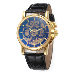 Leather strap mens skeleton watch winner brand automatic mechanical movement watches