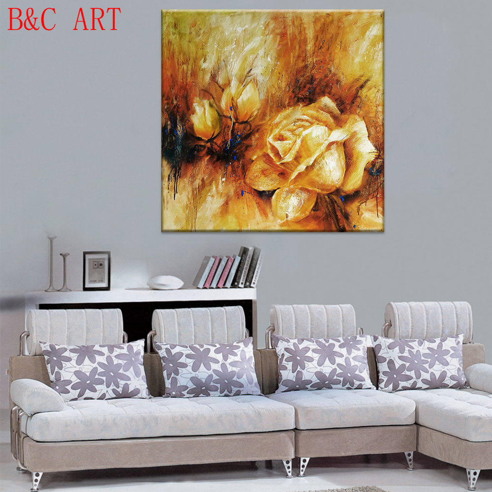 Modern acrylic painting rose flower image prints art for coffee shop dcoration