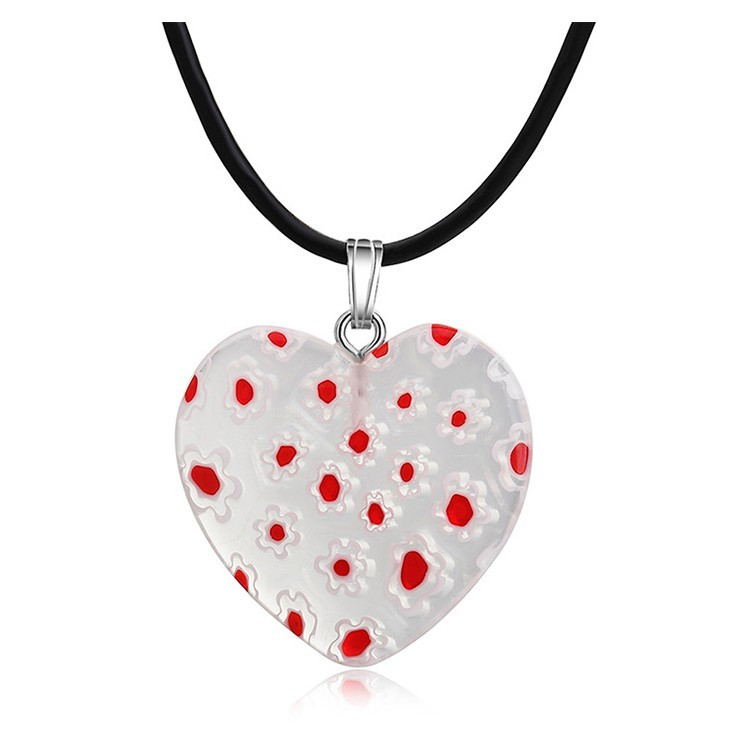 Fashion Water Drop Flower Lampwork Glass Murano Pendant Necklace Women Jewelry