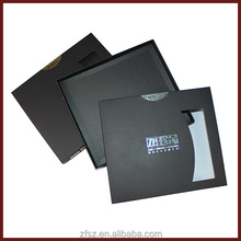 black paper card gift box with golden foil embossing and windows