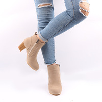B22421A Europe autumn/winter new design Nubuck Leather zipper chunky heels Ankle boots