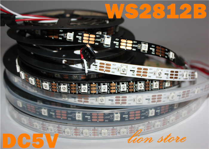 5M 30Pixel/M 150 5050 RGB SMD WS2811 IC Built-in WS2812B WS2812 white  PCB Addressable Color IP67 Tube Waterproof Strip DC5V