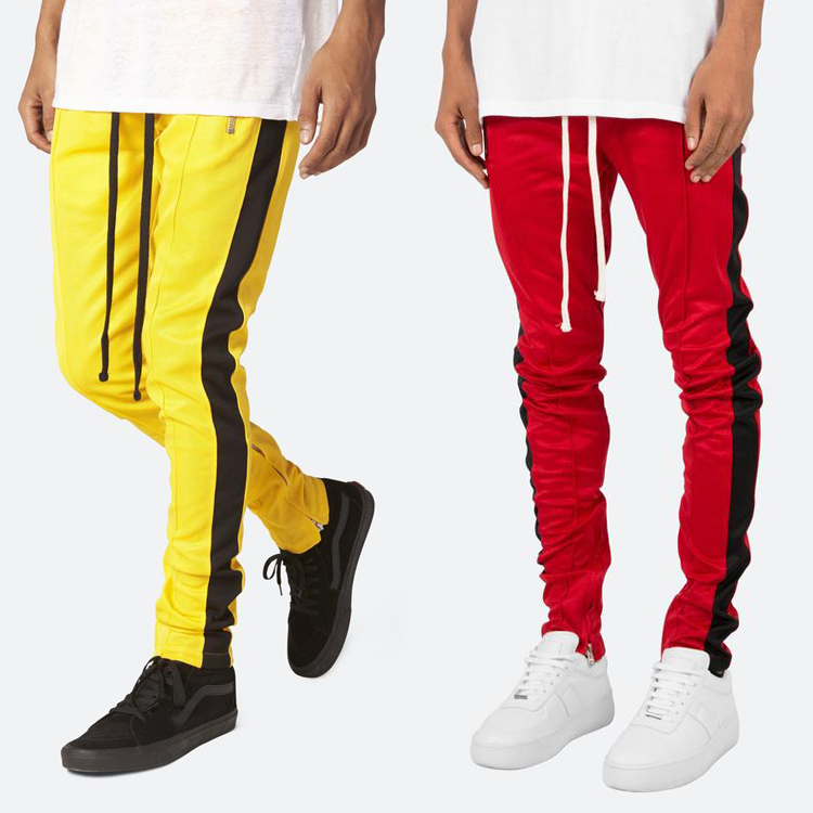 joggers sports pants contrast side stripe long drawstring custom mens track pants