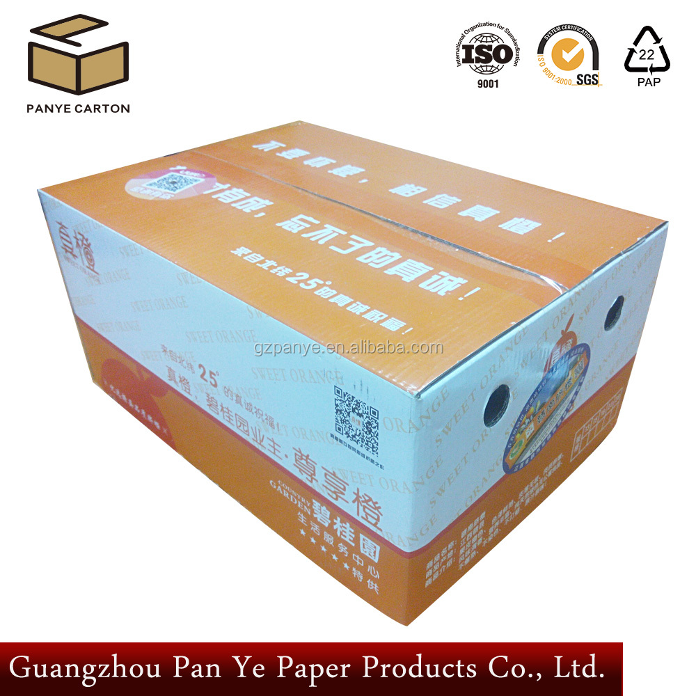 Wholesales Custom Strong cardboard orange 5 layer Packaging Shipping Fruit Caton Box Coating Glossy Lamnination