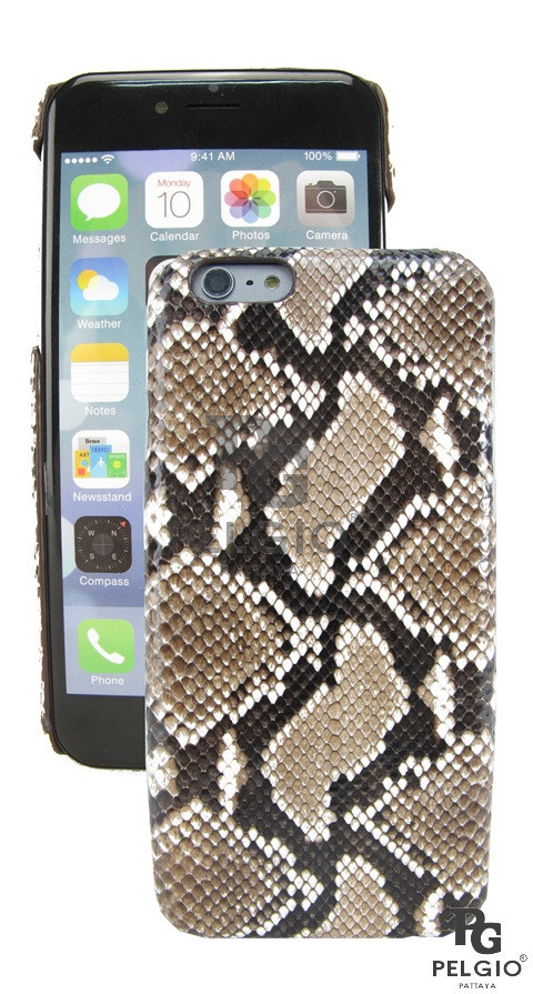 "PELGIO Genuine Python Skin Mobile Phone i6+ Plus 5.5"" Hard Case Natural"