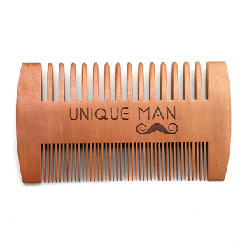 Unique man wholesale custom logo RTS 2 sides wide tooth fine tooth beard comb for Beards & Mustaches