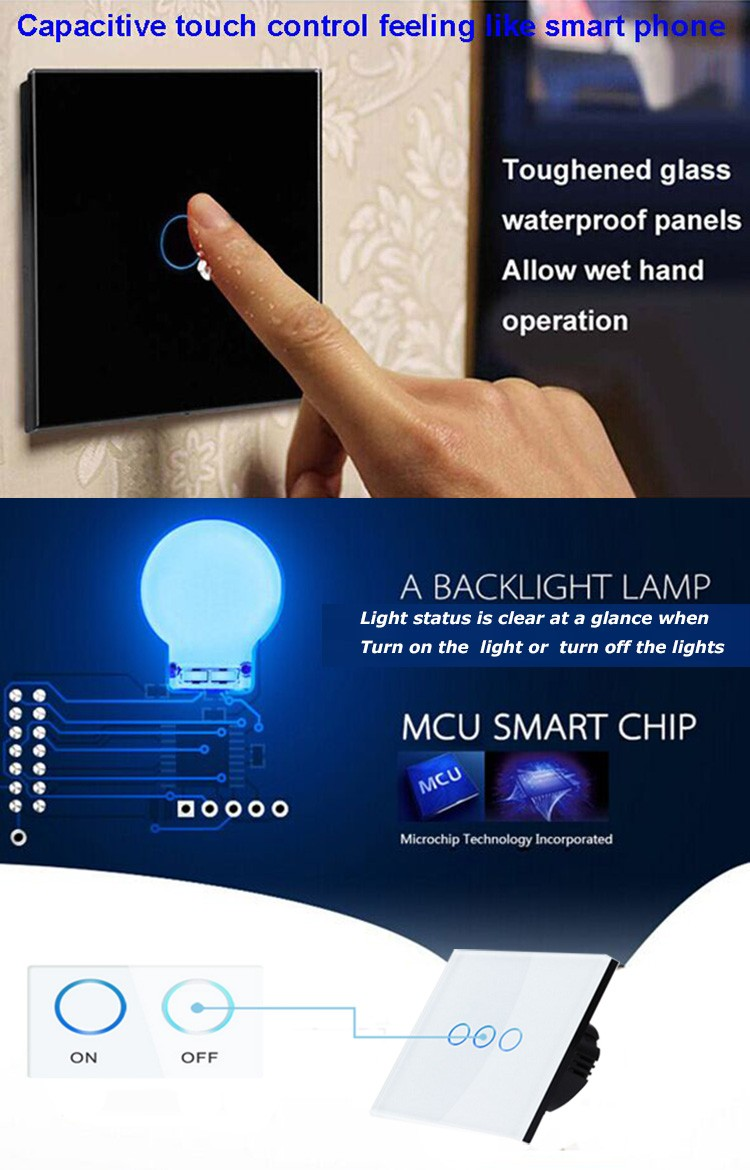 Golden color 1 gang crystal glass touch panel smart home switch with remote control function