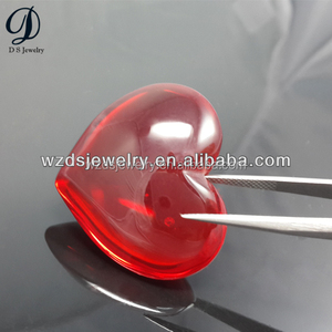 Cabochon Heart Shaped Synthetic Red Glass High Quality