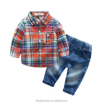 c60cf782d421 2018 primavera otoño niño ropa conjuntos Plaid shirts + jeans 2 unids más nuevos  muchachos juego