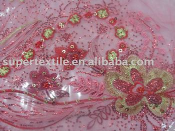 Polyster Mesh Normal Embroidery With Handwork Embroidery