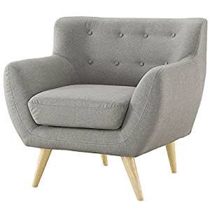 Get Quotations · Gray Upholstered Mid Century Style Armchair Accent Chair  With Wood Legs