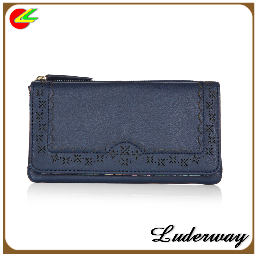 soft luxury scallop-edge trims leather medium wallet for women with private label