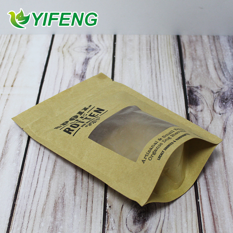 For Fruits And Vegetables Mango Meat High Quality Food Grade Stand Up Pouch Kraft Paper Bag With Clear Window