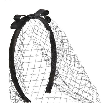 Fashion Women Hair Accessories Plastic Headband Black Hard Head Band With Bow And Net