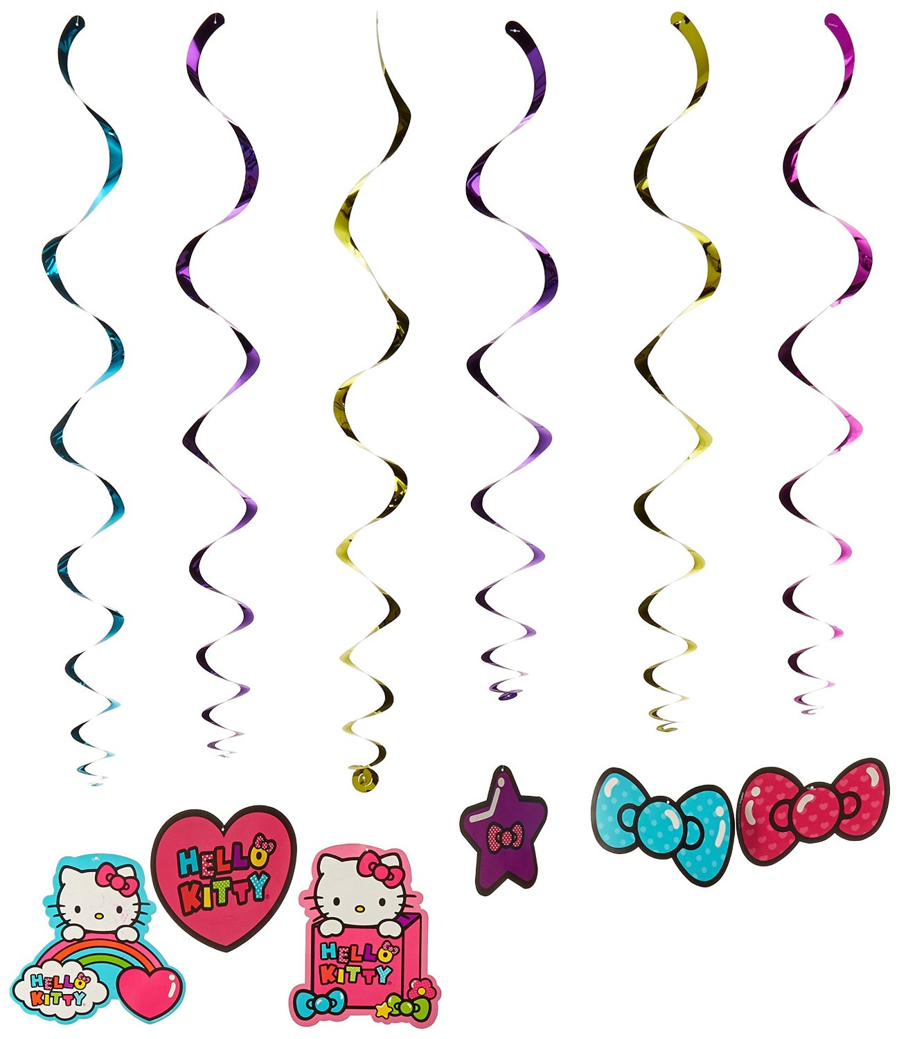 """Hello Kitty Rainbow Value Pack Foil Swirl Birthday Party Decoration (12 Pack), Multi Color, 10"""" x 9.6""""."""
