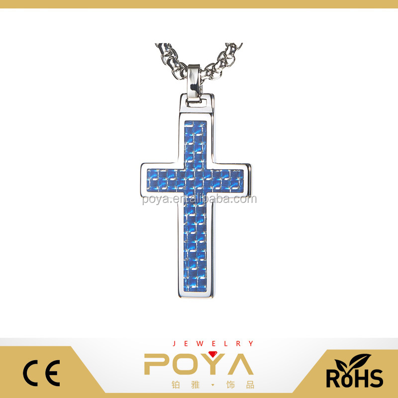 POYA Jewelry Unique Tungsten Surgical Stainless Steel Blue Carbon Fiber Inlay Cross Pendant with Box Chain