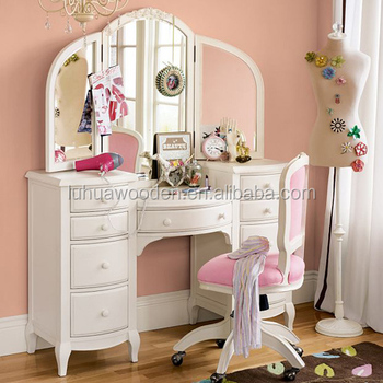 China Supply Wooden Bedroom Dressing Table With Full Length Mirror