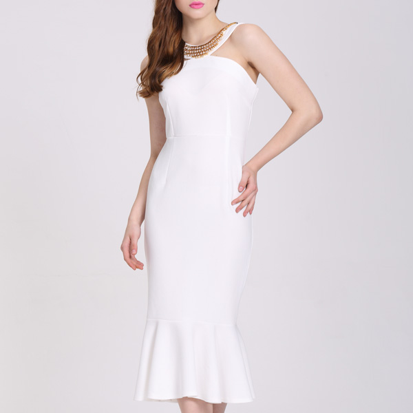High quality Customized White Bodycon Party Dress